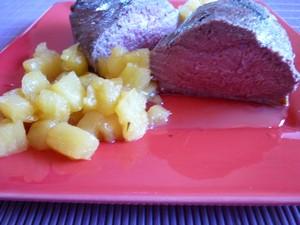 Magret de canard l ananas plat du jour recettes de - Cuisiner magret de canard a la poele ...